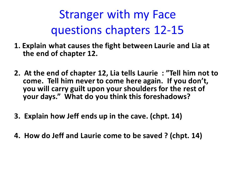 Stranger with my Face questions chapters 12-15 1.