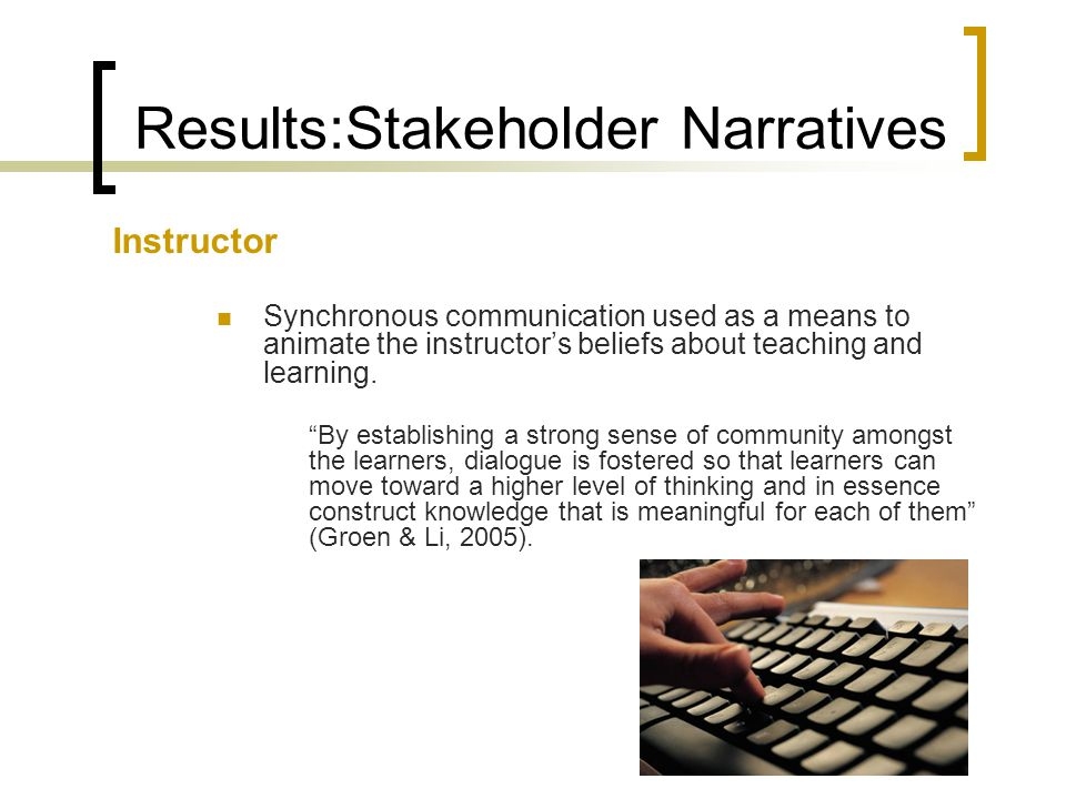 Results:Stakeholder Narratives Instructor Synchronous communication used as a means to animate the instructor's beliefs about teaching and learning.