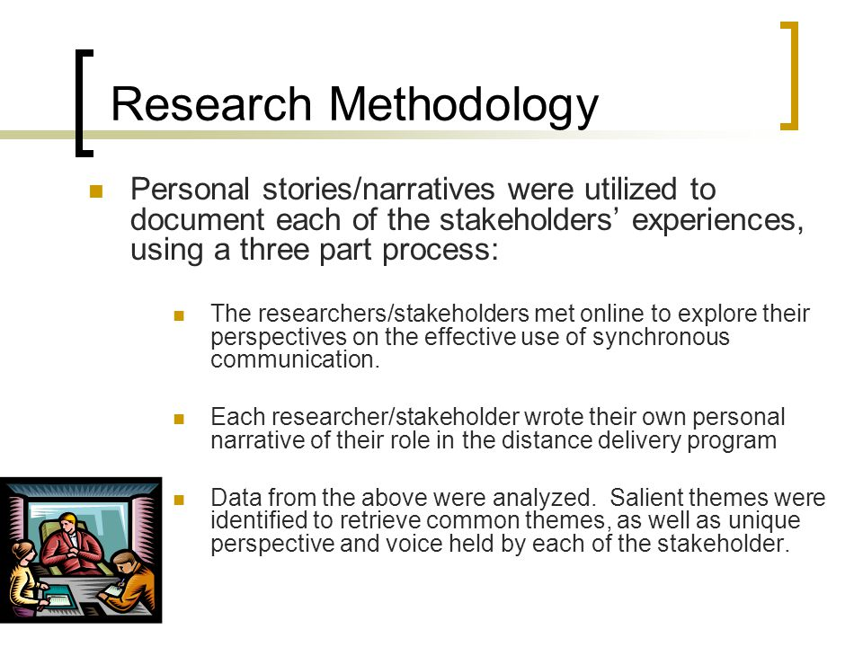 Research Methodology Personal stories/narratives were utilized to document each of the stakeholders' experiences, using a three part process: The researchers/stakeholders met online to explore their perspectives on the effective use of synchronous communication.