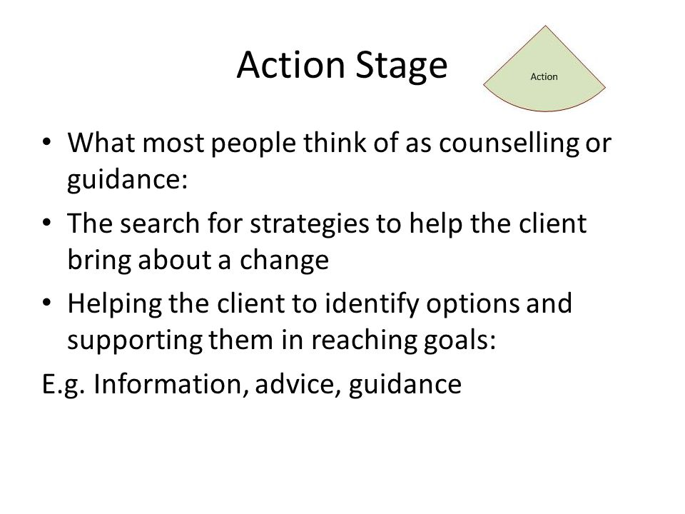 Action Stage What most people think of as counselling or guidance: The search for strategies to help the client bring about a change Helping the client to identify options and supporting them in reaching goals: E.g.