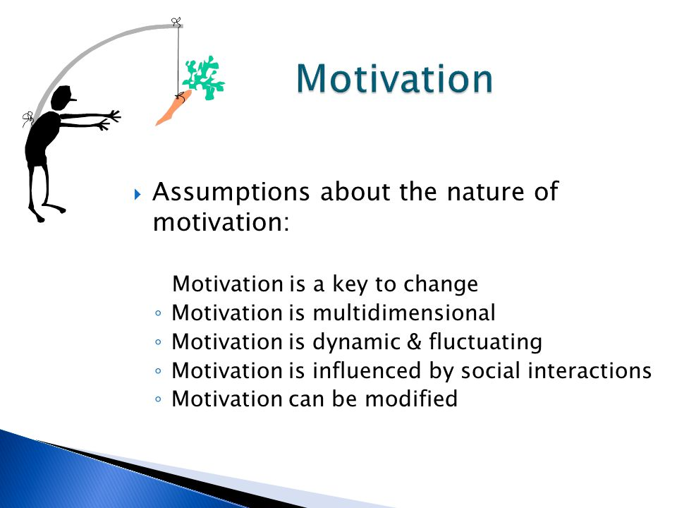 Assumptions about the nature of motivation: Motivation is a key to change ◦ Motivation is multidimensional ◦ Motivation is dynamic & fluctuating ◦ Motivation is influenced by social interactions ◦ Motivation can be modified
