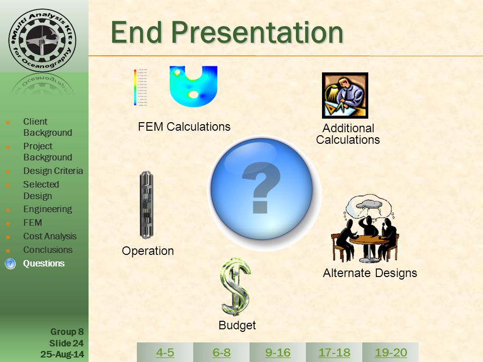 Group 8 Slide 24 25-Aug-14 End Presentation FEM Calculations Operation  Client Background  Project Background  Design Criteria  Selected Design  Engineering  FEM  Cost Analysis  Conclusions  Questions Budget Alternate Designs Additional Calculations 4-56-89-1617-1819-20