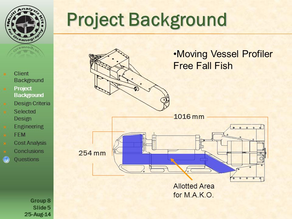 Group 8 Slide 5 25-Aug-14 Project Background Moving Vessel Profiler Free Fall Fish Allotted Area for M.A.K.O.