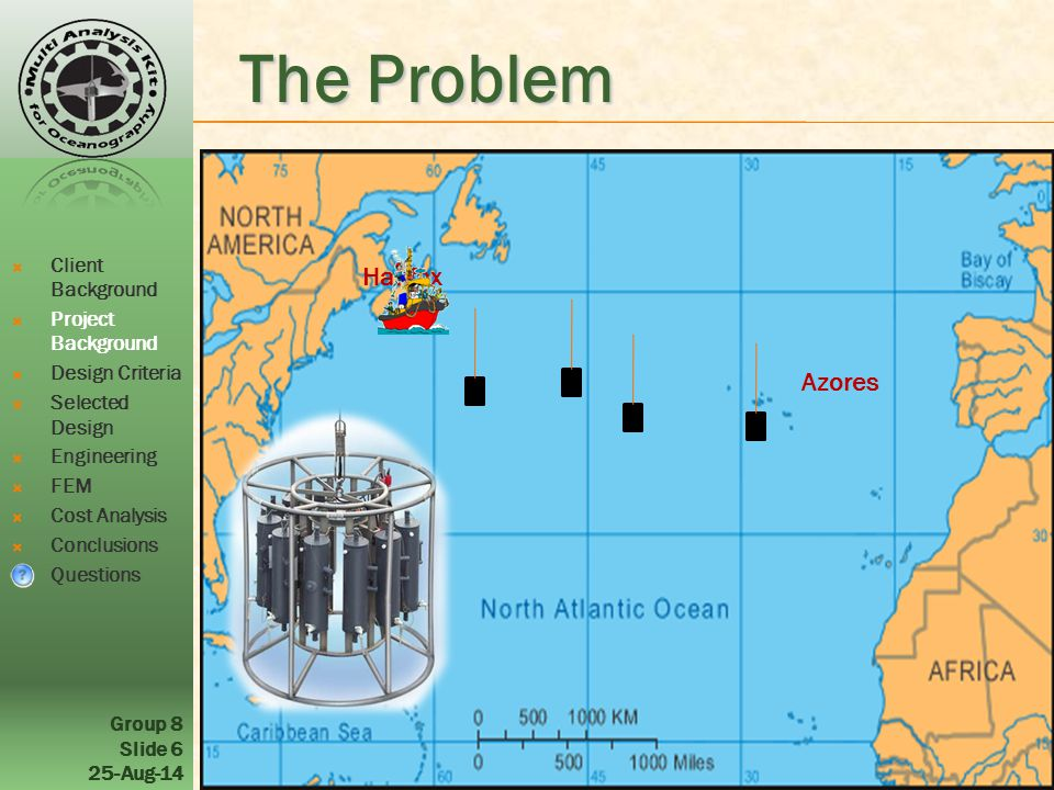 Group 8 Slide 6 25-Aug-14 Azores Halifax The Problem  Client Background  Project Background  Design Criteria  Selected Design  Engineering  FEM  Cost Analysis  Conclusions  Questions