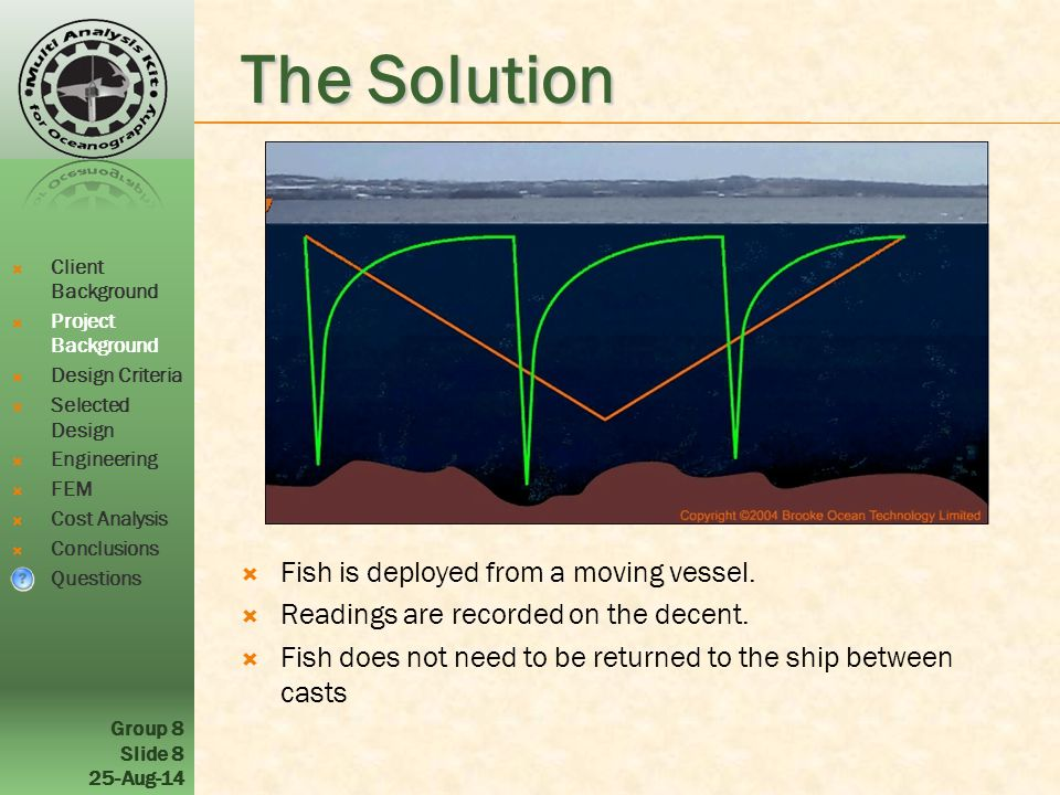 Group 8 Slide 8 25-Aug-14 The Solution  Fish is deployed from a moving vessel.  Readings are recorded on the decent.  Fish does not need to be retu