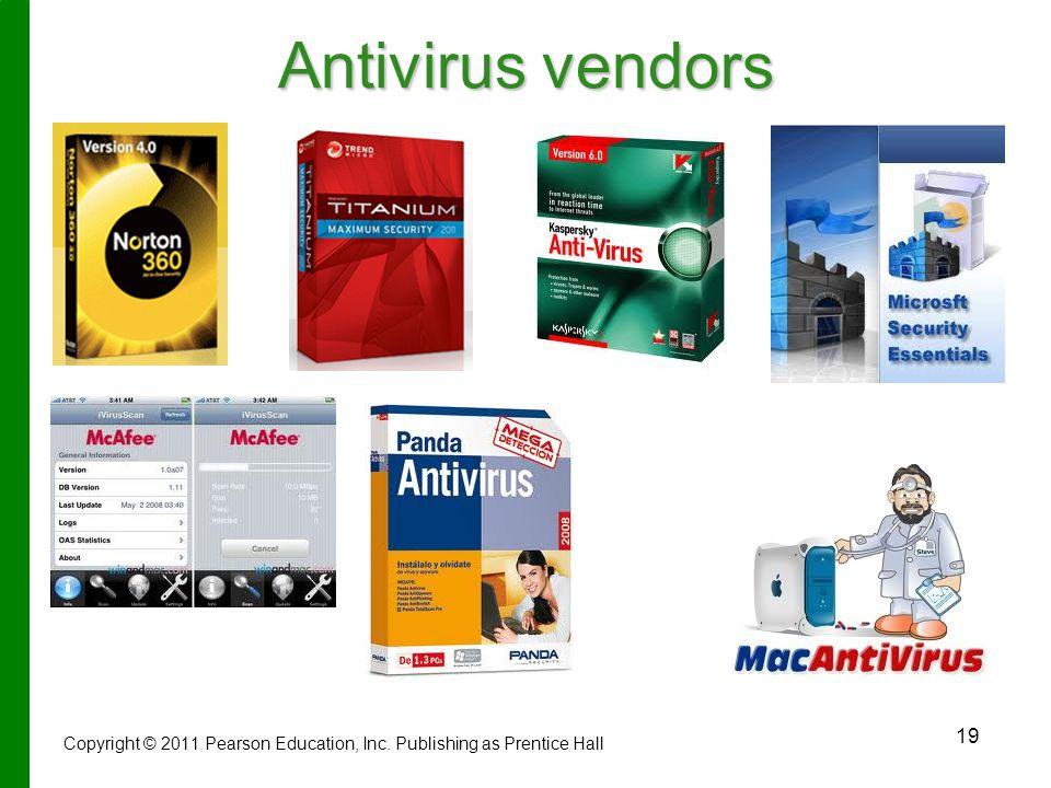 19 Antivirus vendors Copyright © 2011 Pearson Education, Inc. Publishing as Prentice Hall