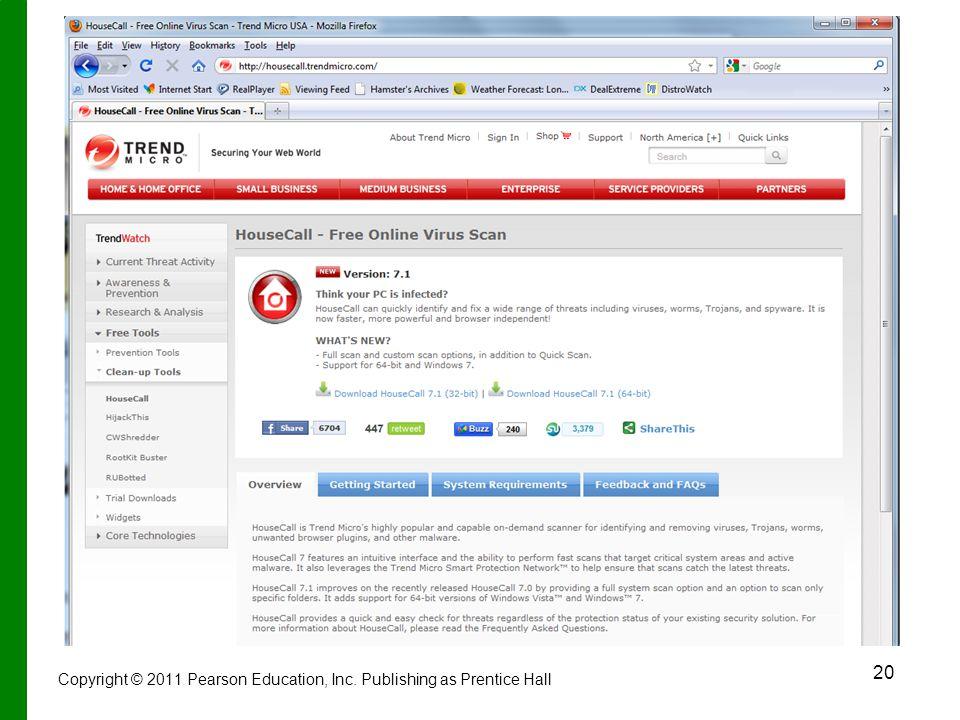 20 Copyright © 2011 Pearson Education, Inc. Publishing as Prentice Hall