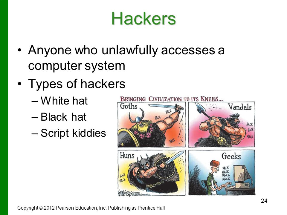 24Hackers Anyone who unlawfully accesses a computer system Types of hackers – –White hat – –Black hat – –Script kiddies Copyright © 2012 Pearson Education, Inc.