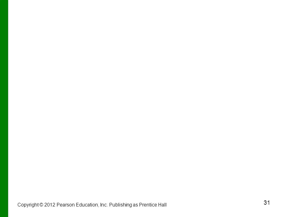 31 Copyright © 2012 Pearson Education, Inc. Publishing as Prentice Hall