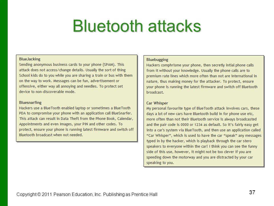 37 Bluetooth attacks Copyright © 2011 Pearson Education, Inc. Publishing as Prentice Hall