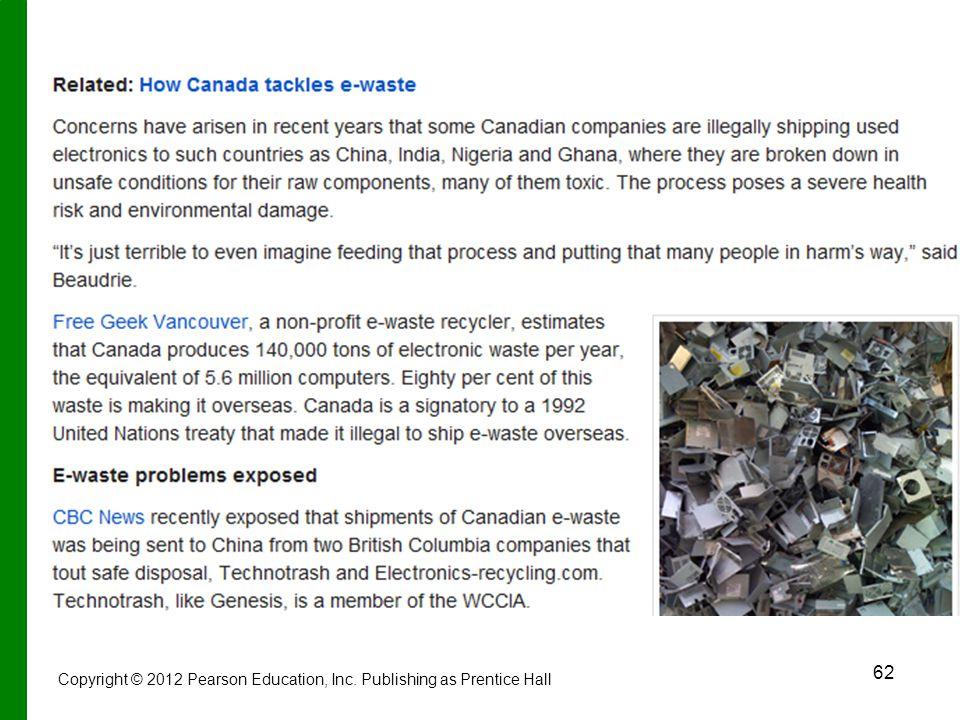 62 Copyright © 2012 Pearson Education, Inc. Publishing as Prentice Hall