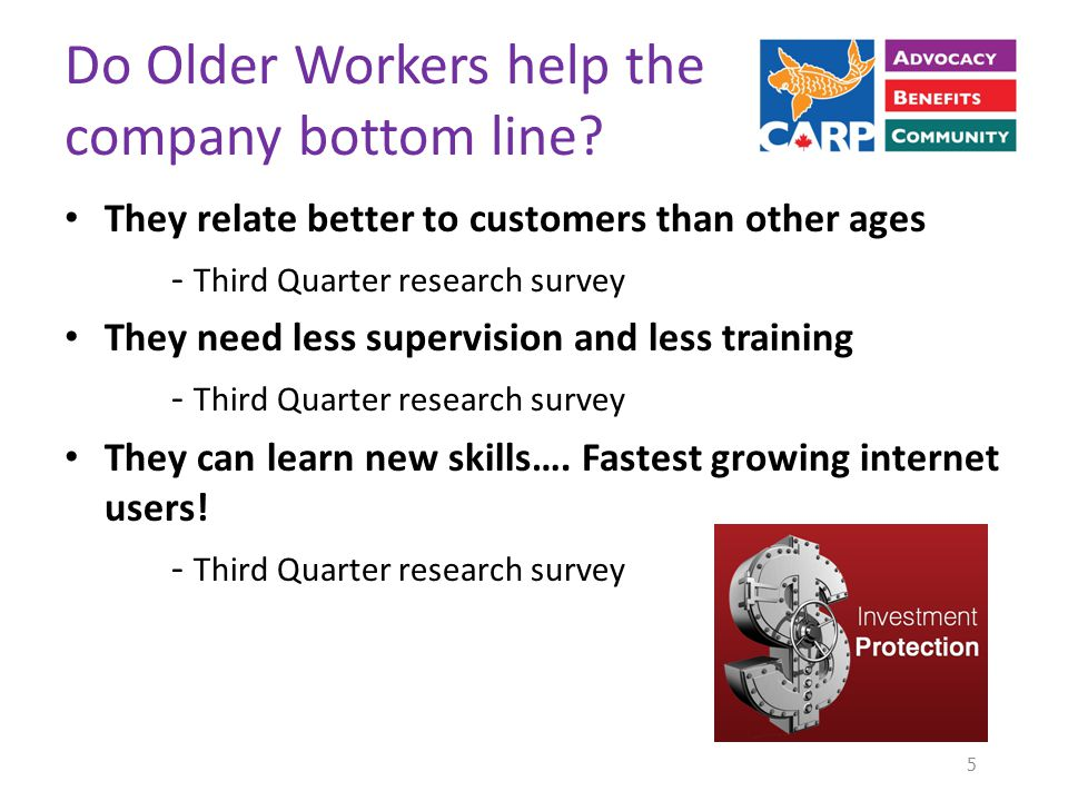 Do Older Workers help the company bottom line.
