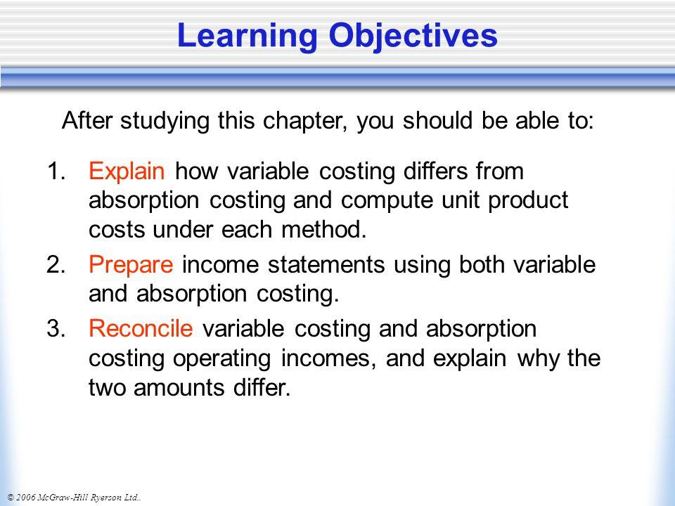 © 2006 McGraw-Hill Ryerson Ltd..Learning Objectives 4.