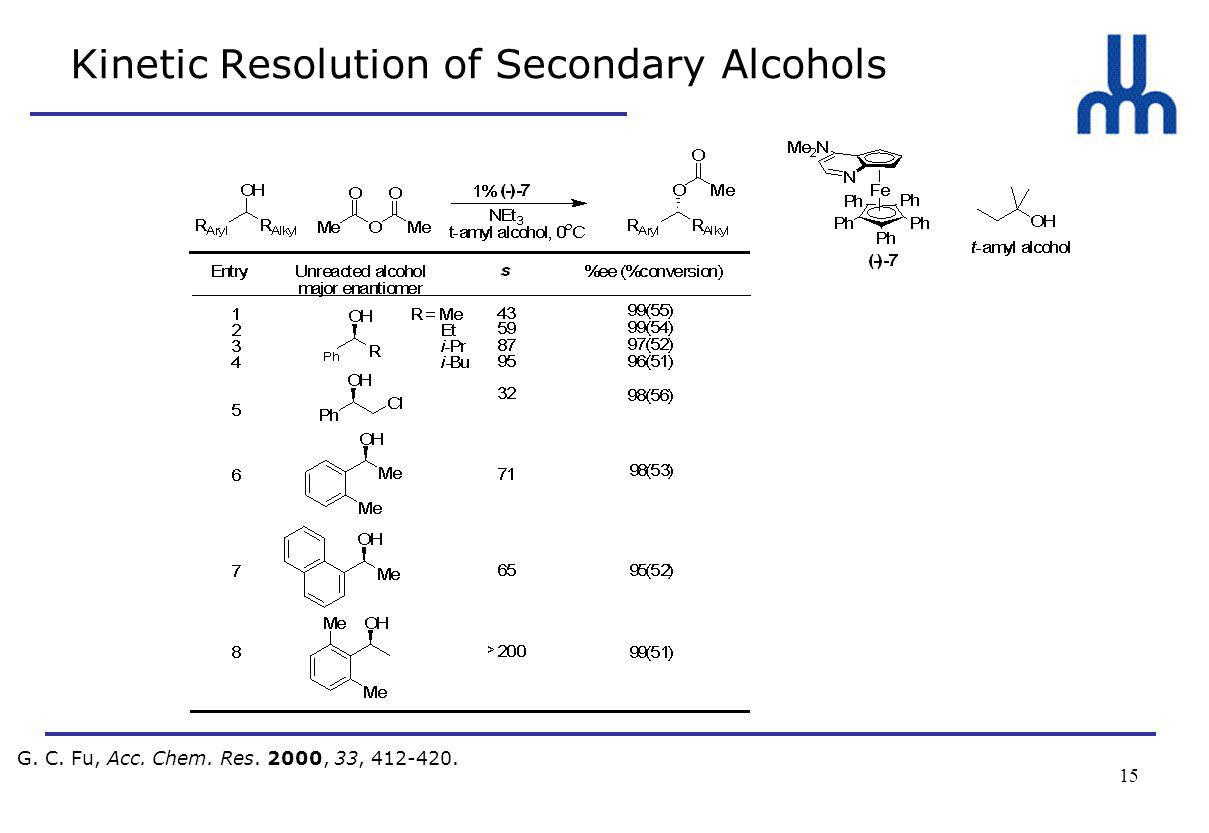 15 Kinetic Resolution of Secondary Alcohols G. C. Fu, Acc. Chem. Res. 2000, 33, 412-420.