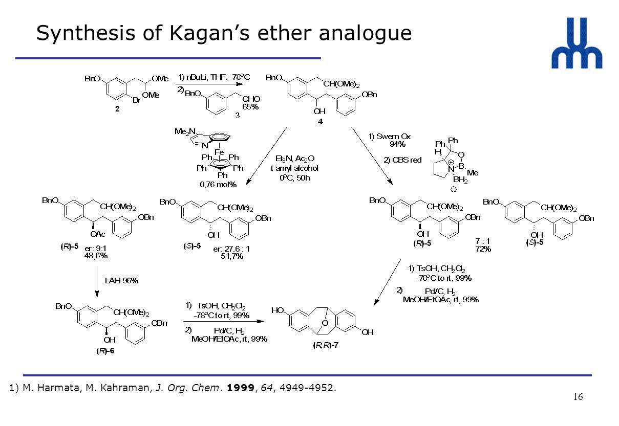 16 Synthesis of Kagan's ether analogue 1) M. Harmata, M.