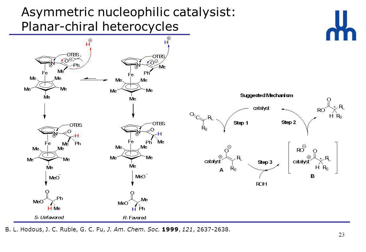 23 Asymmetric nucleophilic catalysist: Planar-chiral heterocycles B.