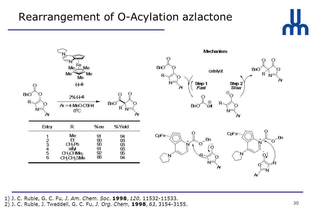 30 Rearrangement of O-Acylation azlactone 1) J. C.
