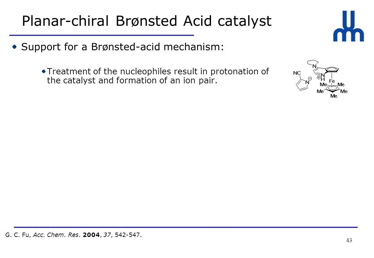 43 Planar-chiral Brønsted Acid catalyst Support for a Brønsted-acid mechanism: Treatment of the nucleophiles result in protonation of the catalyst and formation of an ion pair.