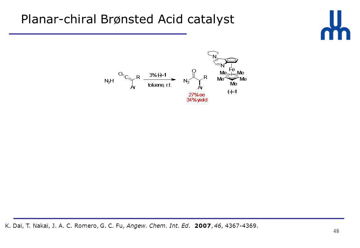 48 Planar-chiral Brønsted Acid catalyst K. Dai, T.