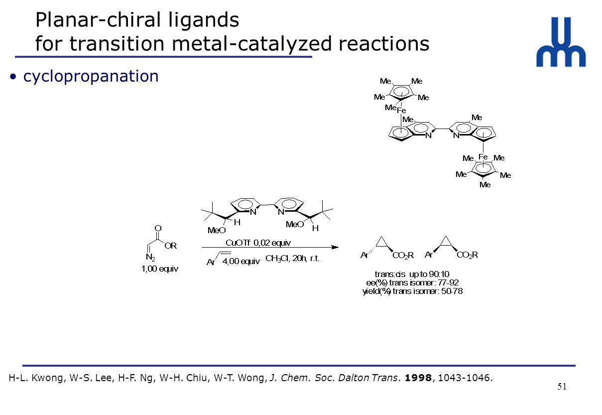 51 Planar-chiral ligands for transition metal-catalyzed reactions H-L.