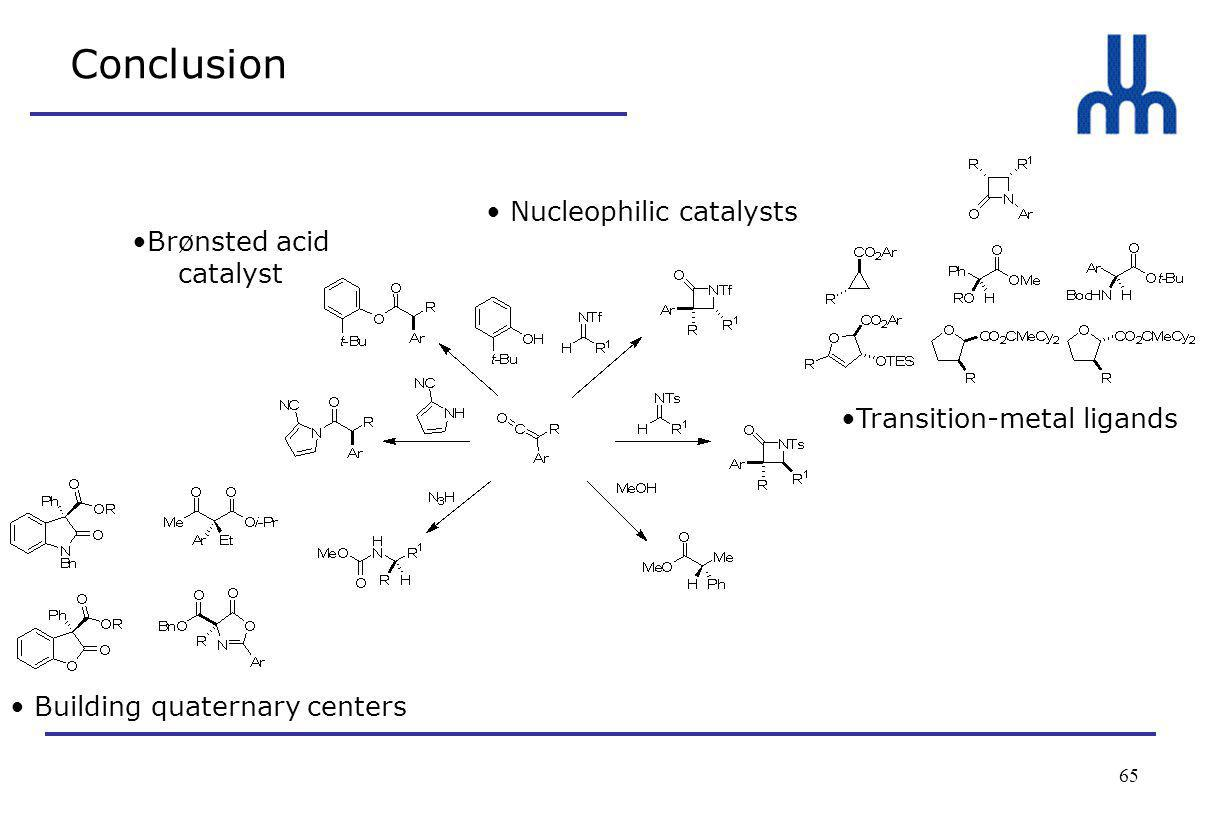 65 Conclusion Nucleophilic catalysts Transition-metal ligands Building quaternary centers Brønsted acid catalyst