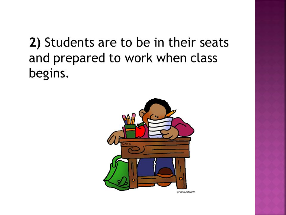 3) Students are to show respect at all times and in all manners toward themselves, others, and staff.