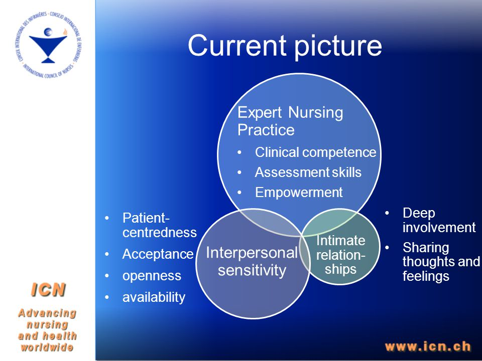 Expert Nursing Practice Clinical competence Assessment skills Empowerment Intimate relation- ships Interpersonal sensitivity Current picture Patient- centredness Acceptance openness availability Deep involvement Sharing thoughts and feelings