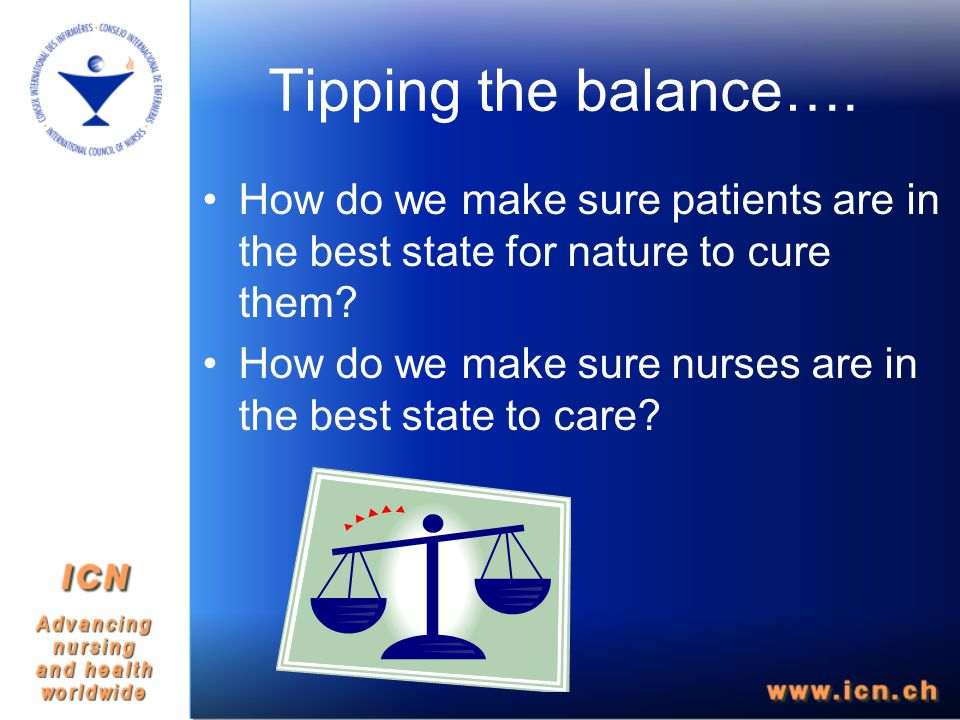 Tipping the balance…. How do we make sure patients are in the best state for nature to cure them.