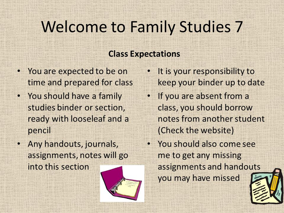 Welcome to Family Studies 7 Class Expectations You are expected to be on time and prepared for class You should have a family studies binder or section, ready with looseleaf and a pencil Any handouts, journals, assignments, notes will go into this section It is your responsibility to keep your binder up to date If you are absent from a class, you should borrow notes from another student (Check the website) You should also come see me to get any missing assignments and handouts you may have missed