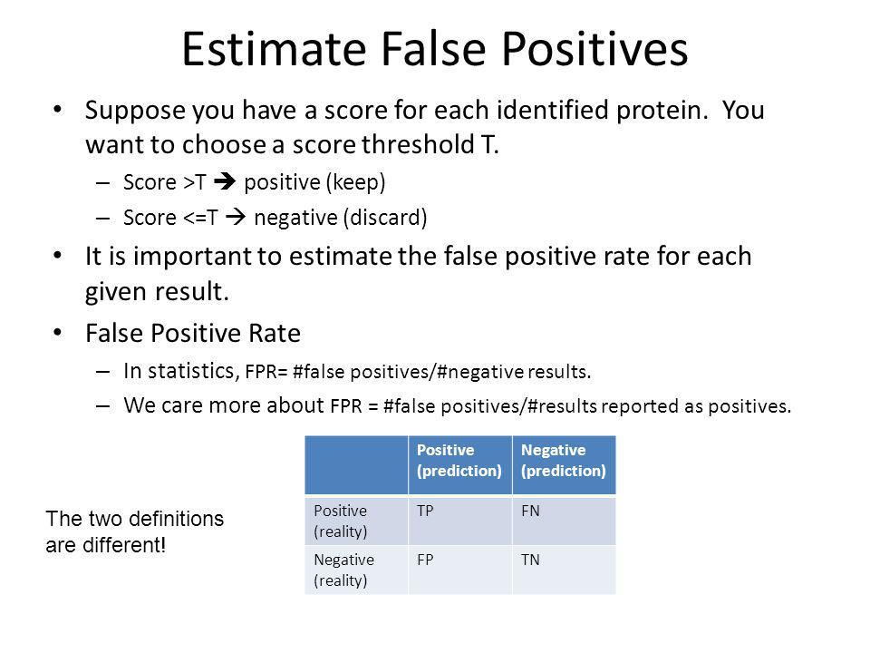 Estimate False Positives Suppose you have a score for each identified protein.