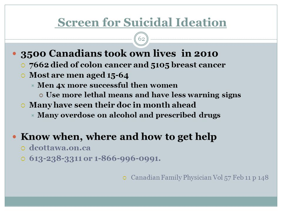 Screen for Suicidal Ideation 62 3500 Canadians took own lives in 2010  7662 died of colon cancer and 5105 breast cancer  Most are men aged 15-64  Men 4x more successful then women Use more lethal means and have less warning signs  Many have seen their doc in month ahead  Many overdose on alcohol and prescribed drugs Know when, where and how to get help  dcottawa.on.ca  613-238-3311 or 1-866-996-0991.