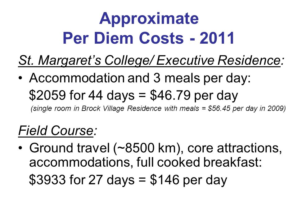 Approximate Per Diem Costs - 2011 St.
