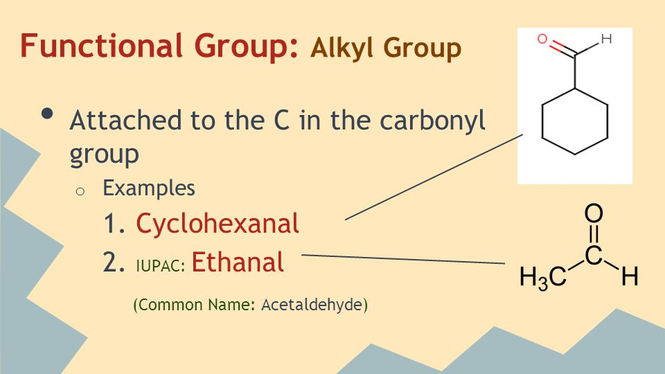 Functional Group: Alkyl Group Attached to the C in the carbonyl group o Examples 1.