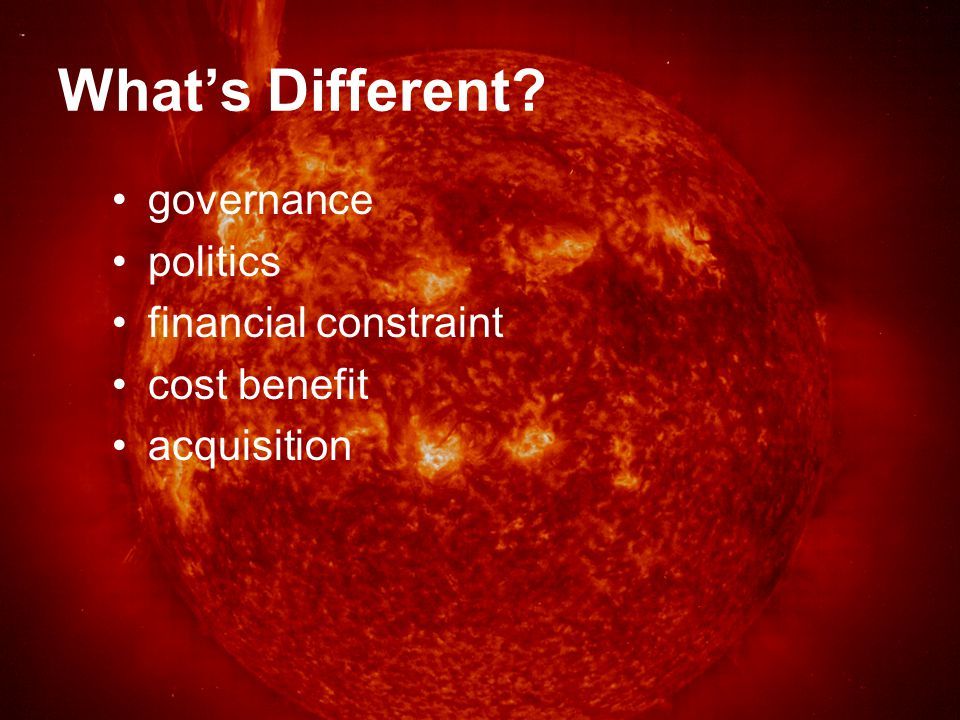 What's Different governance politics financial constraint cost benefit acquisition