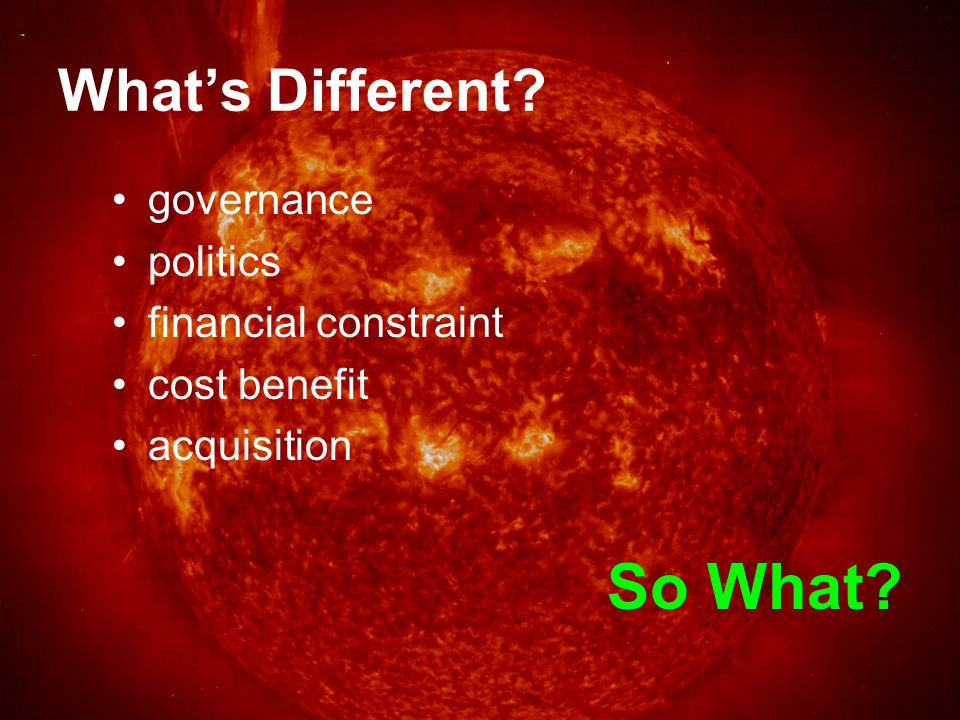 Governance What's different.consensus decision making accountability for benefits So What.
