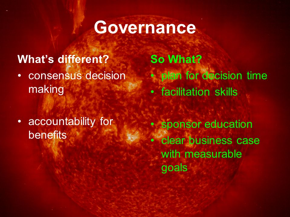 Politics What's different.politicians as stakeholders risk of change in direction So What.