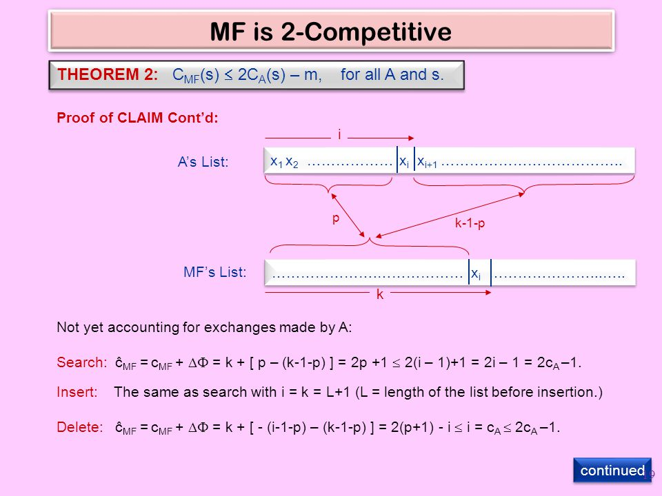 MF is 2-Competitive THEOREM 2: C MF (s)  2C A (s) – m, for all A and s.