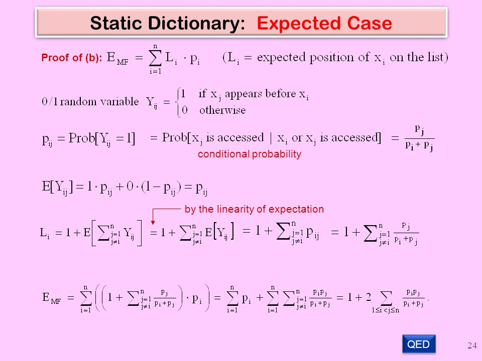 Static Dictionary: Expected Case QED Proof of (b): conditional probability by the linearity of expectation 24