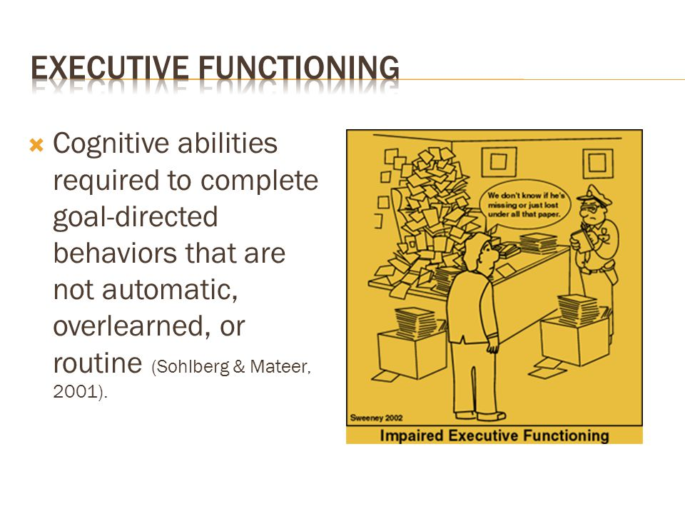  Cognitive abilities required to complete goal-directed behaviors that are not automatic, overlearned, or routine (Sohlberg & Mateer, 2001).