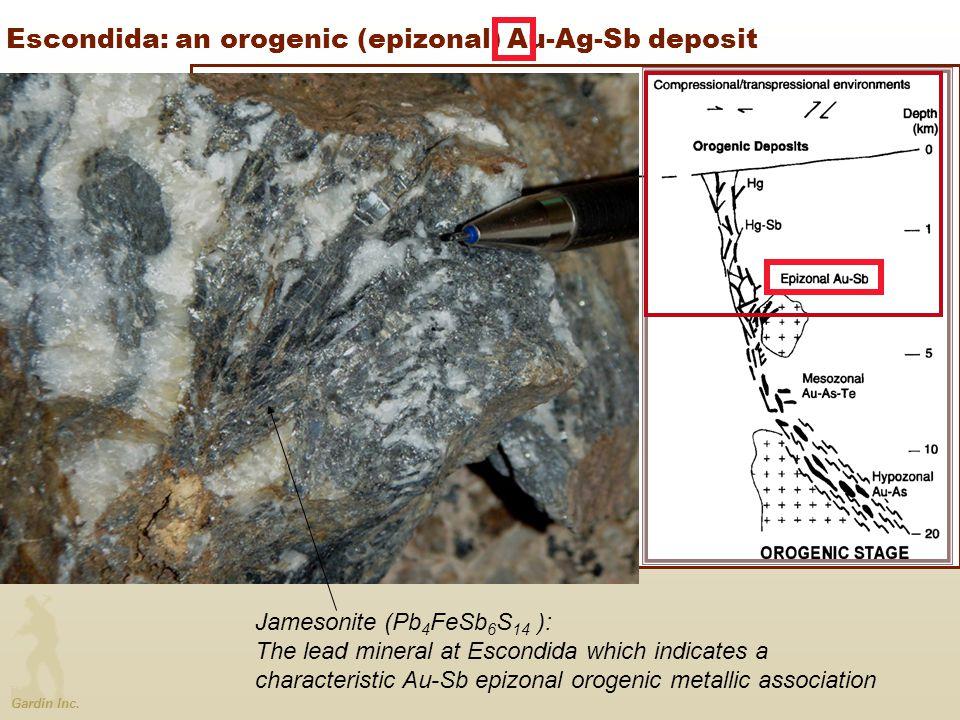 Gardin Inc. Escondida: an orogenic (epizonal) Au-Ag-Sb deposit Jamesonite (Pb 4 FeSb 6 S 14 ): The lead mineral at Escondida which indicates a charact