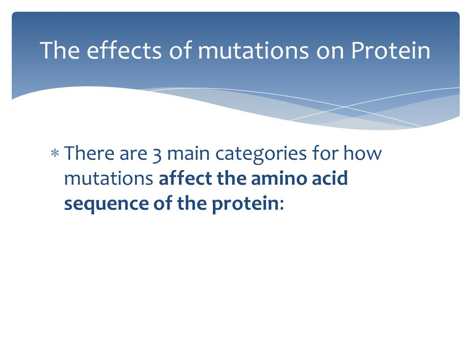  There are 3 main categories for how mutations affect the amino acid sequence of the protein: The effects of mutations on Protein