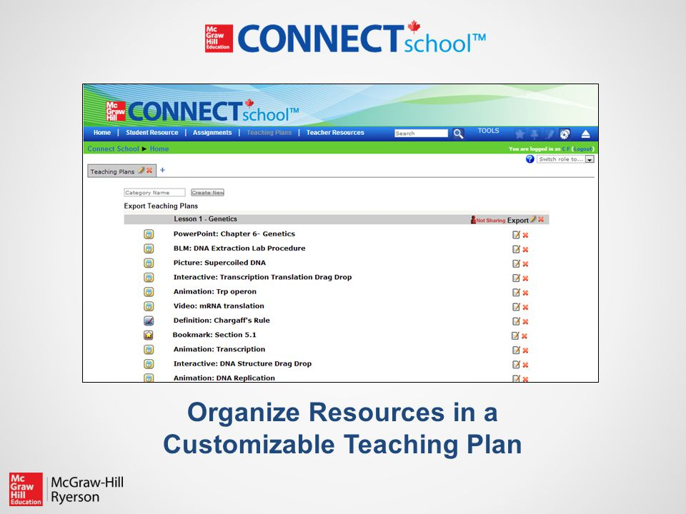 Organize Resources in a Customizable Teaching Plan