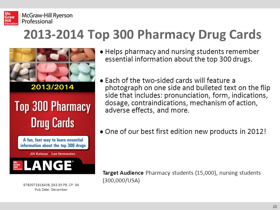 20 2013-2014 Top 300 Pharmacy Drug Cards  Helps pharmacy and nursing students remember essential information about the top 300 drugs.