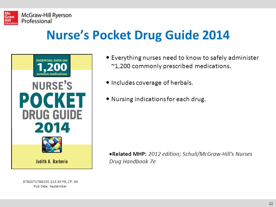 22 Nurse's Pocket Drug Guide 2014  Everything nurses need to know to safely administer ~1,200 commonly prescribed medications.  Includes coverage of