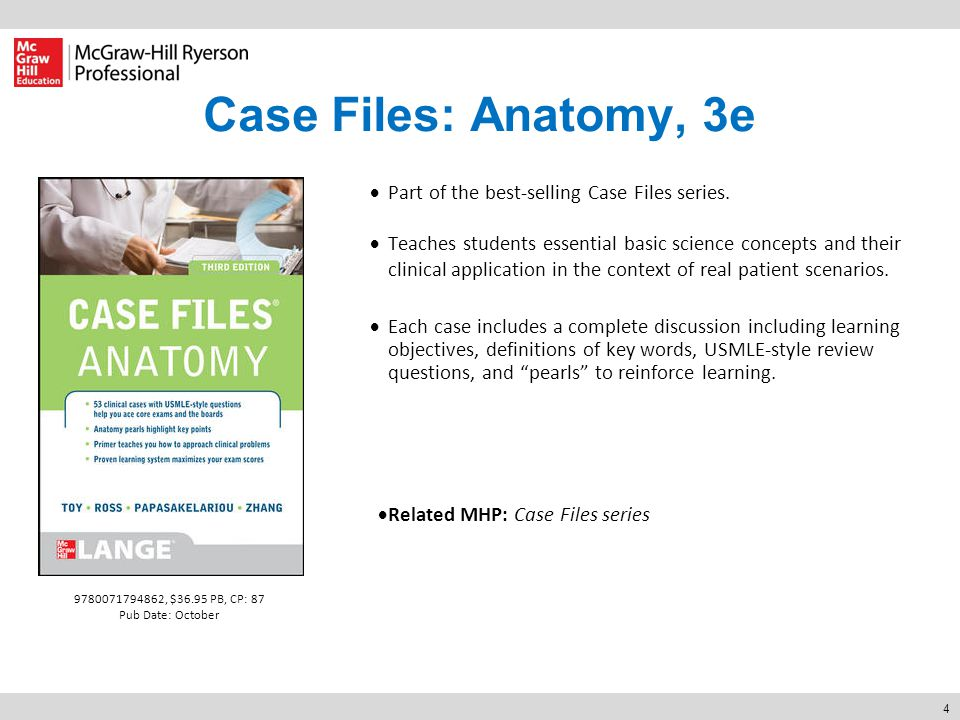 4 Case Files: Anatomy, 3e  Part of the best-selling Case Files series.  Teaches students essential basic science concepts and their clinical applica