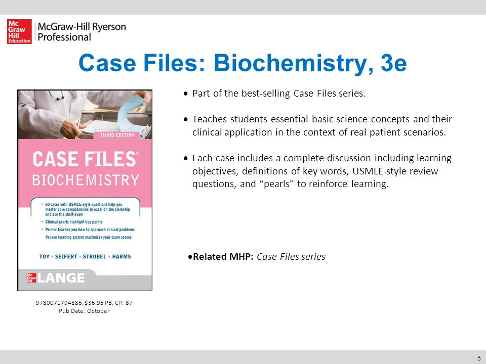 5 Case Files: Biochemistry, 3e  Part of the best-selling Case Files series.  Teaches students essential basic science concepts and their clinical ap