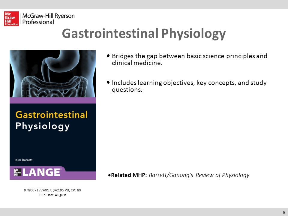 9 Gastrointestinal Physiology  Bridges the gap between basic science principles and clinical medicine.  Includes learning objectives, key concepts,