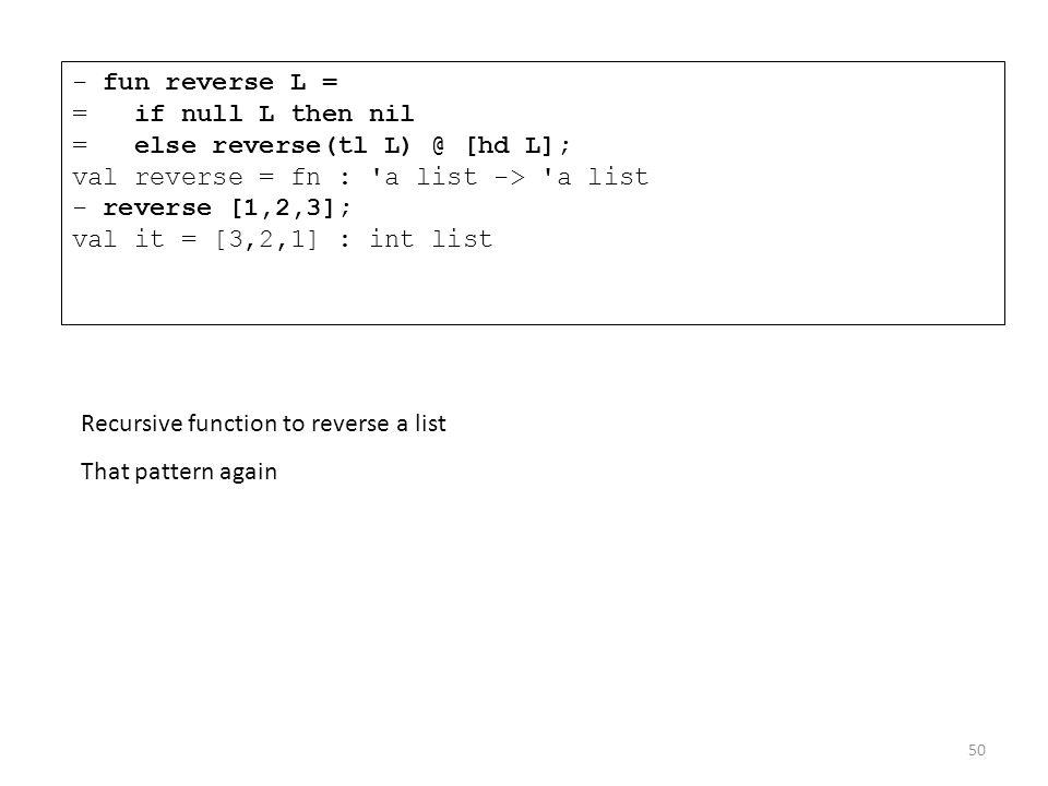 - fun reverse L = = if null L then nil = else reverse(tl L) @ [hd L]; val reverse = fn : 'a list -> 'a list - reverse [1,2,3]; val it = [3,2,1] : int