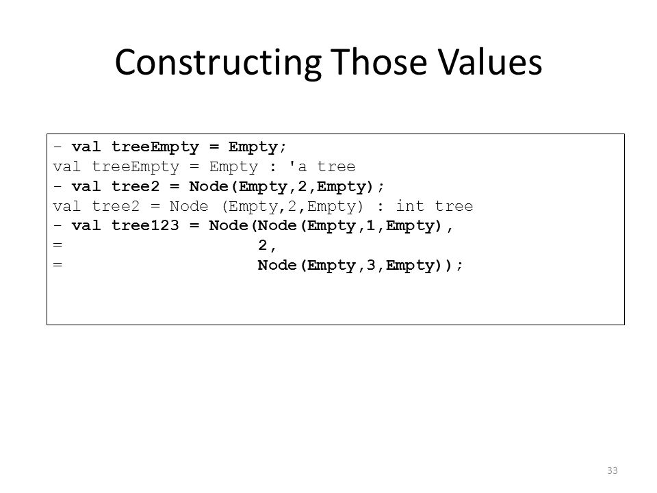 - val treeEmpty = Empty; val treeEmpty = Empty : a tree - val tree2 = Node(Empty,2,Empty); val tree2 = Node (Empty,2,Empty) : int tree - val tree123 = Node(Node(Empty,1,Empty), = 2, = Node(Empty,3,Empty)); Constructing Those Values 33
