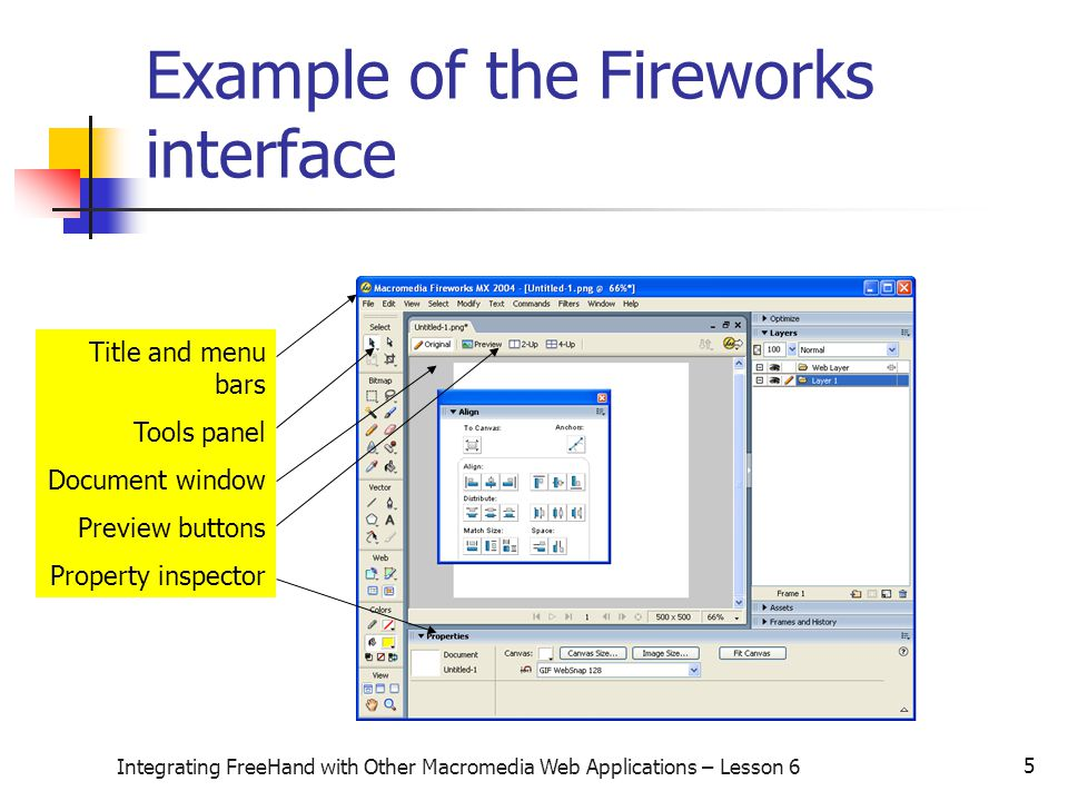 5 Integrating FreeHand with Other Macromedia Web Applications – Lesson 6 Example of the Fireworks interface Title and menu bars Tools panel Document window Preview buttons Property inspector
